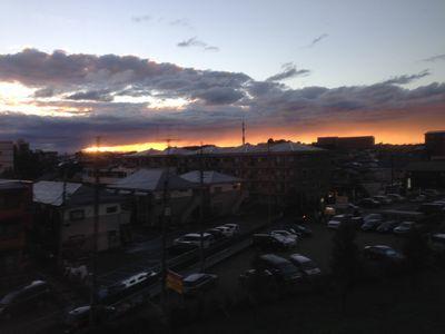 新幹線から見た夕焼け